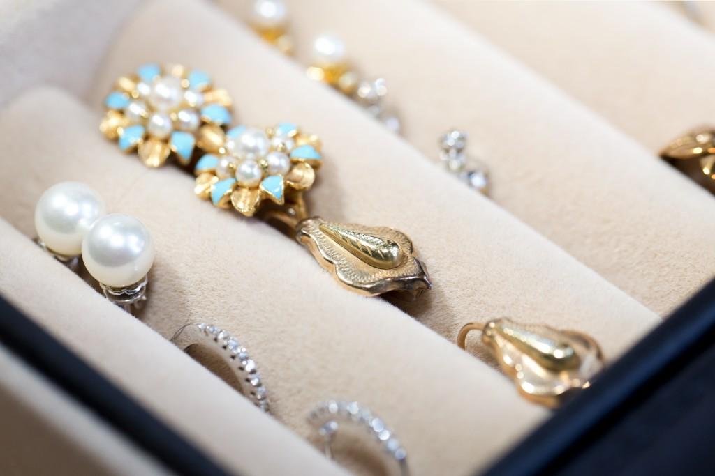 earrings in a jewelry box